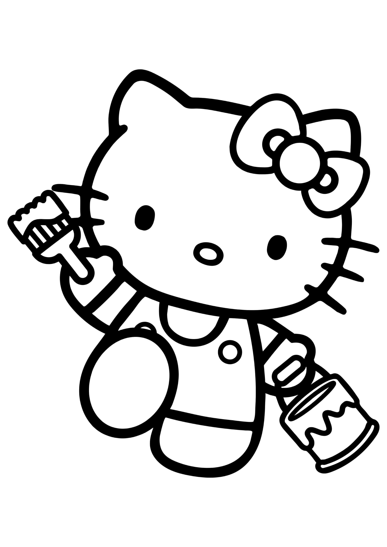 Раскраска Китти с кисточкой и краской