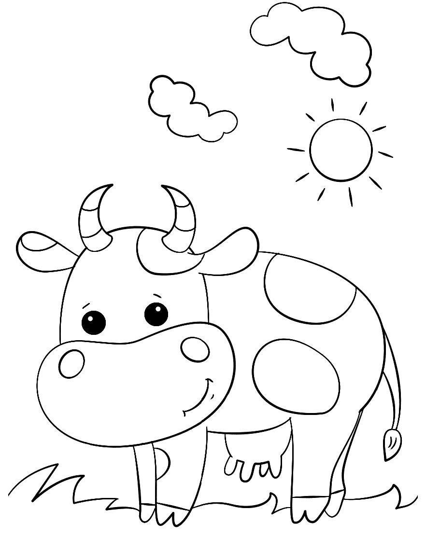 Раскраска Корова на полянке
