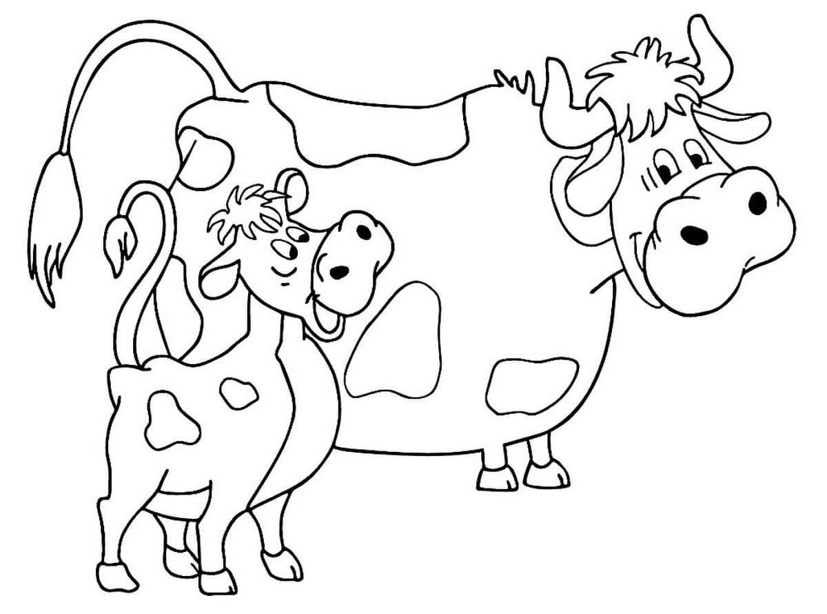 Раскраска Корова с телёнком