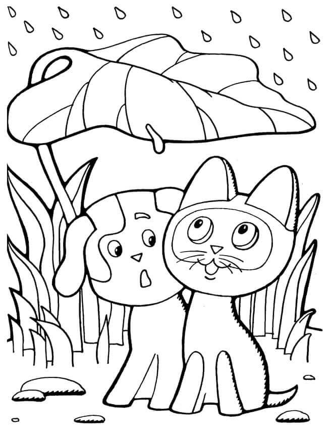 Раскраска Кошечка и собачка под дождём