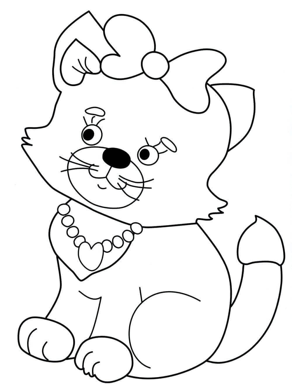 Раскраска «Кошечка с бантиком»
