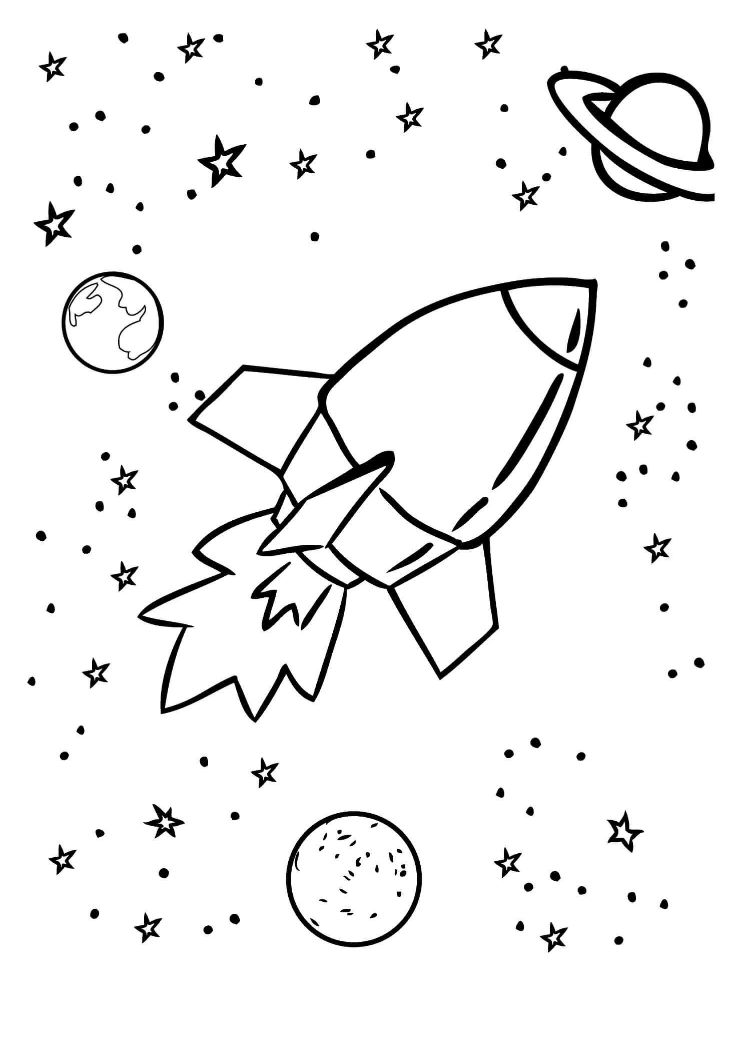 Раскраска Космическая ракета в космосе