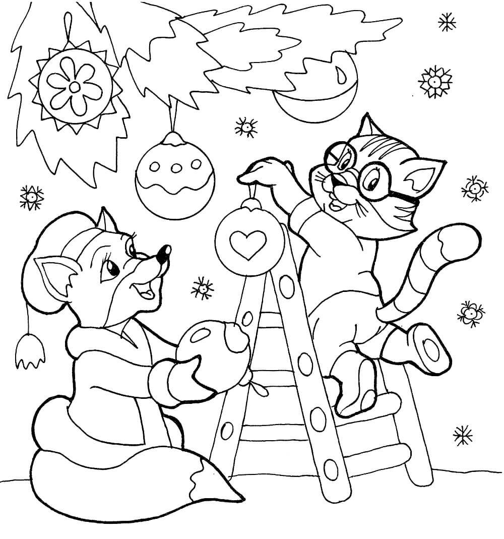 Раскраска Котик и лисичка наряжают ёлочку