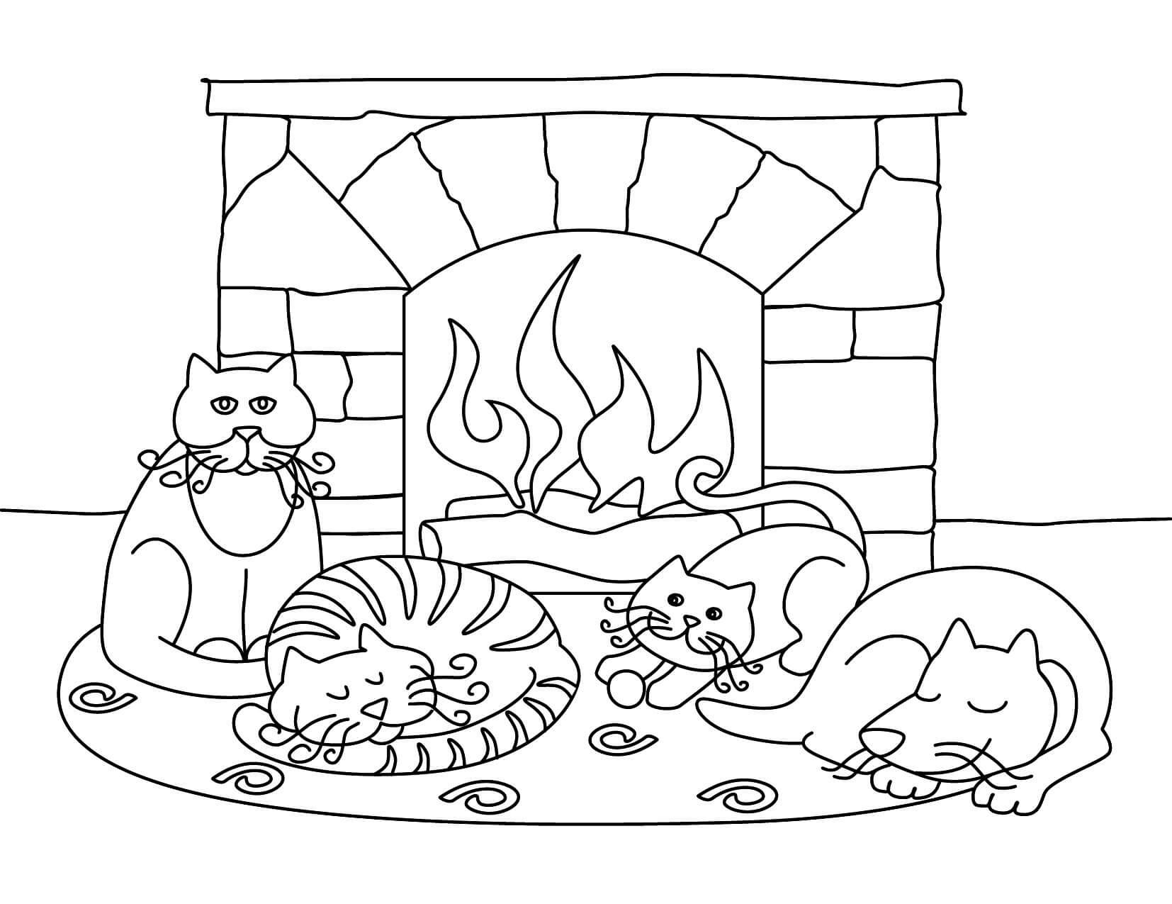 Раскраска Коты и пёс греются у камина