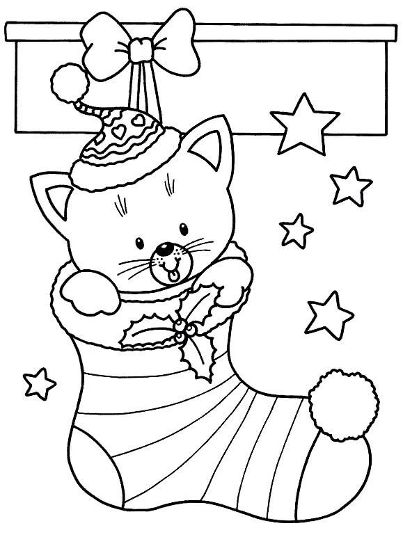 Раскраска Котёнок в рождественском носке