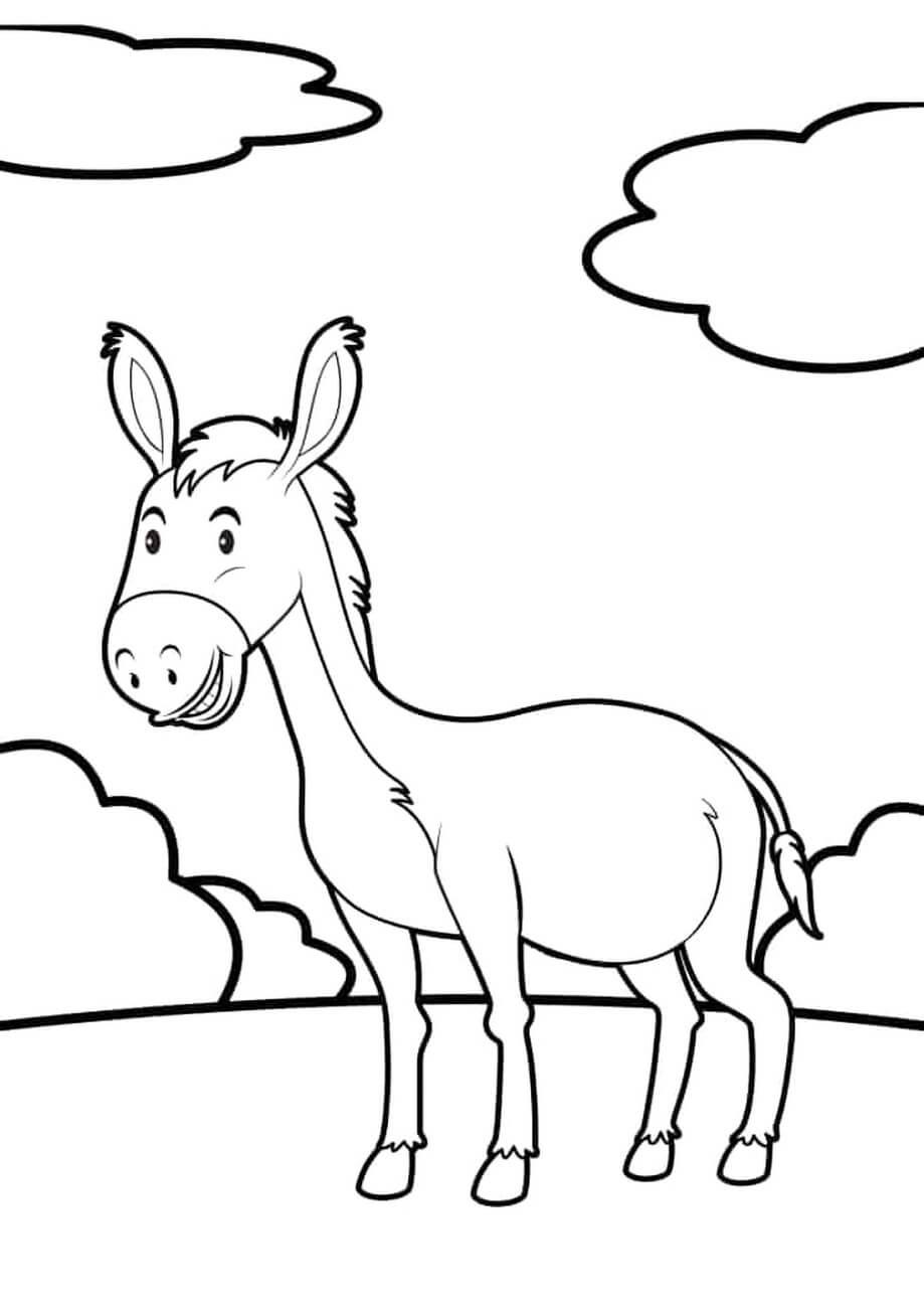 Раскраска Красивый ослик
