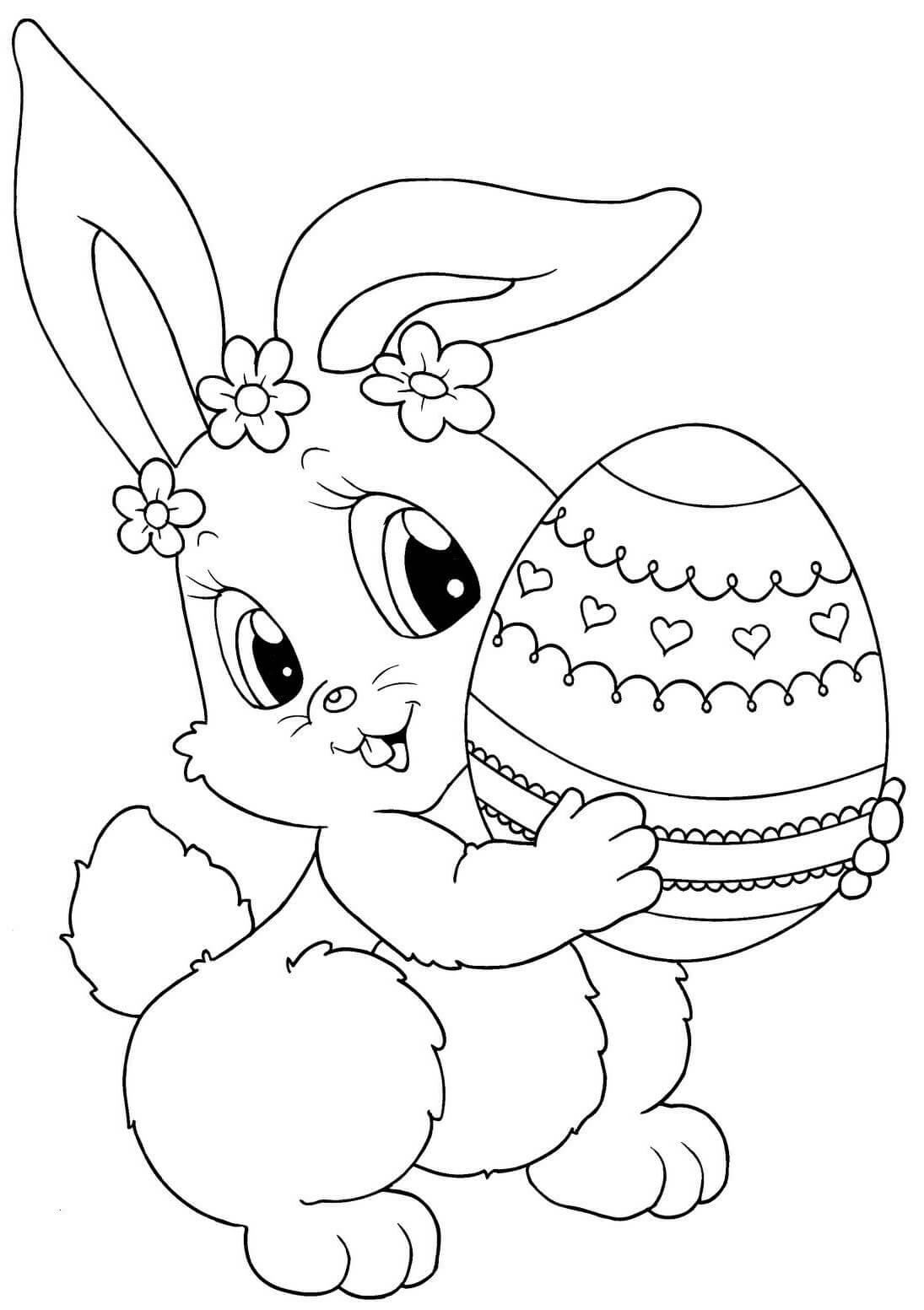 Раскраска Крольчиха с пасхальным яйцом