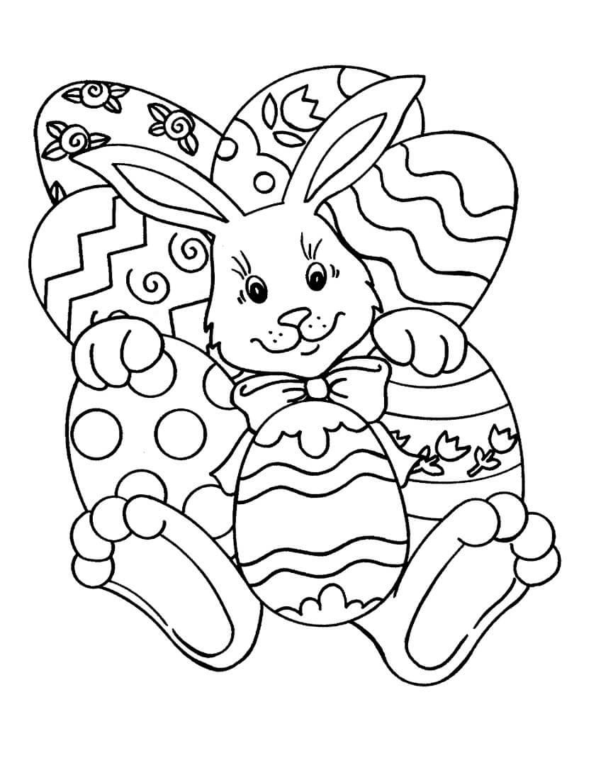 Раскраска Кролик и расписные яйца