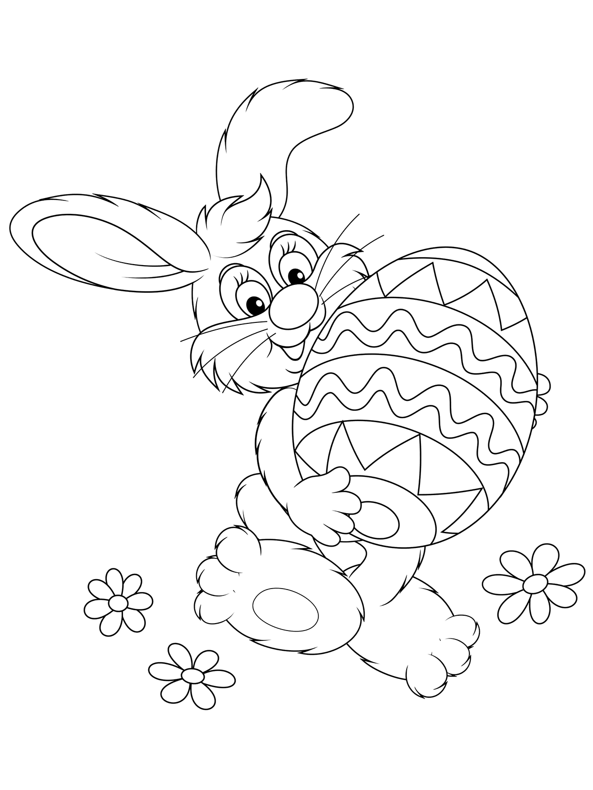 Раскраска Кролик несёт пасхальное яйцо