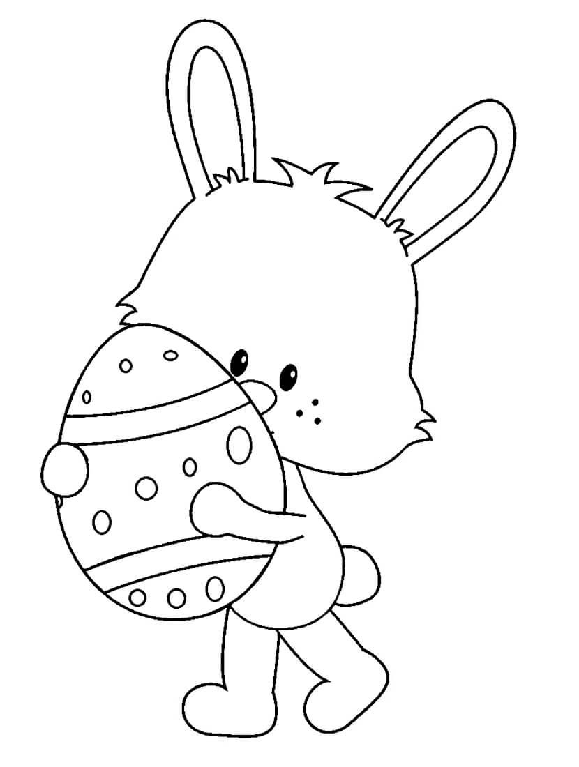 Раскраска Кролик с пасхальным яйцом