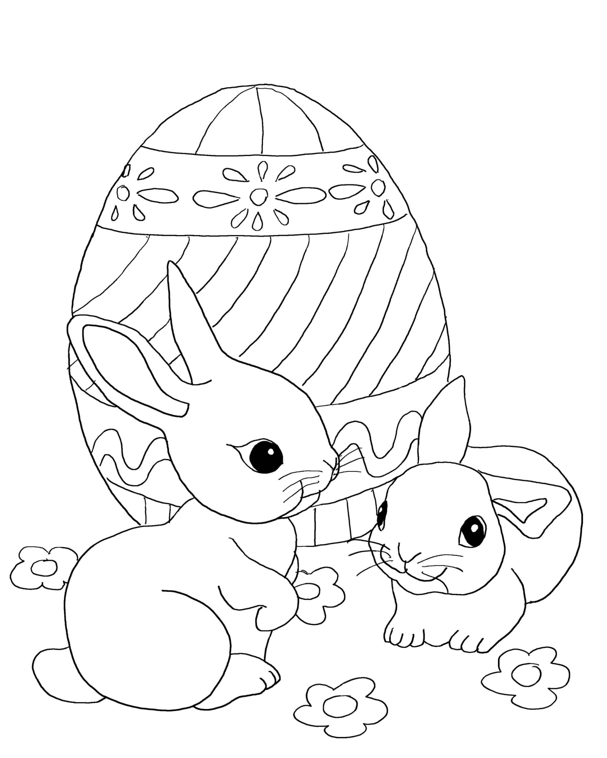 Раскраска Кролики и пасхальное яйцо