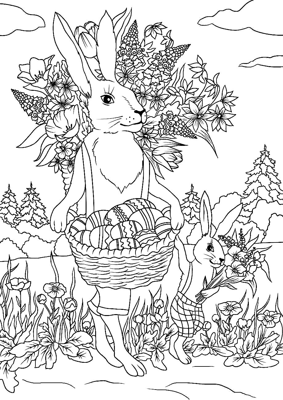 Раскраска Кролики и пасхальные яйца