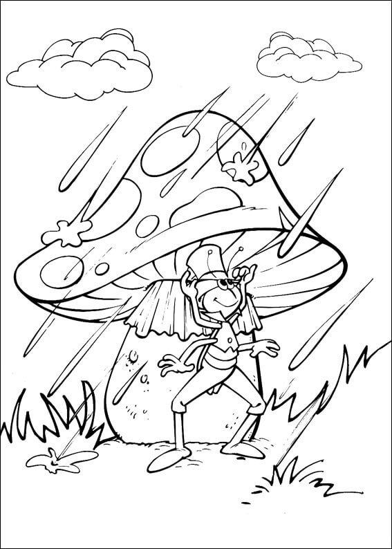 Раскраска Кузнечик под грибочком