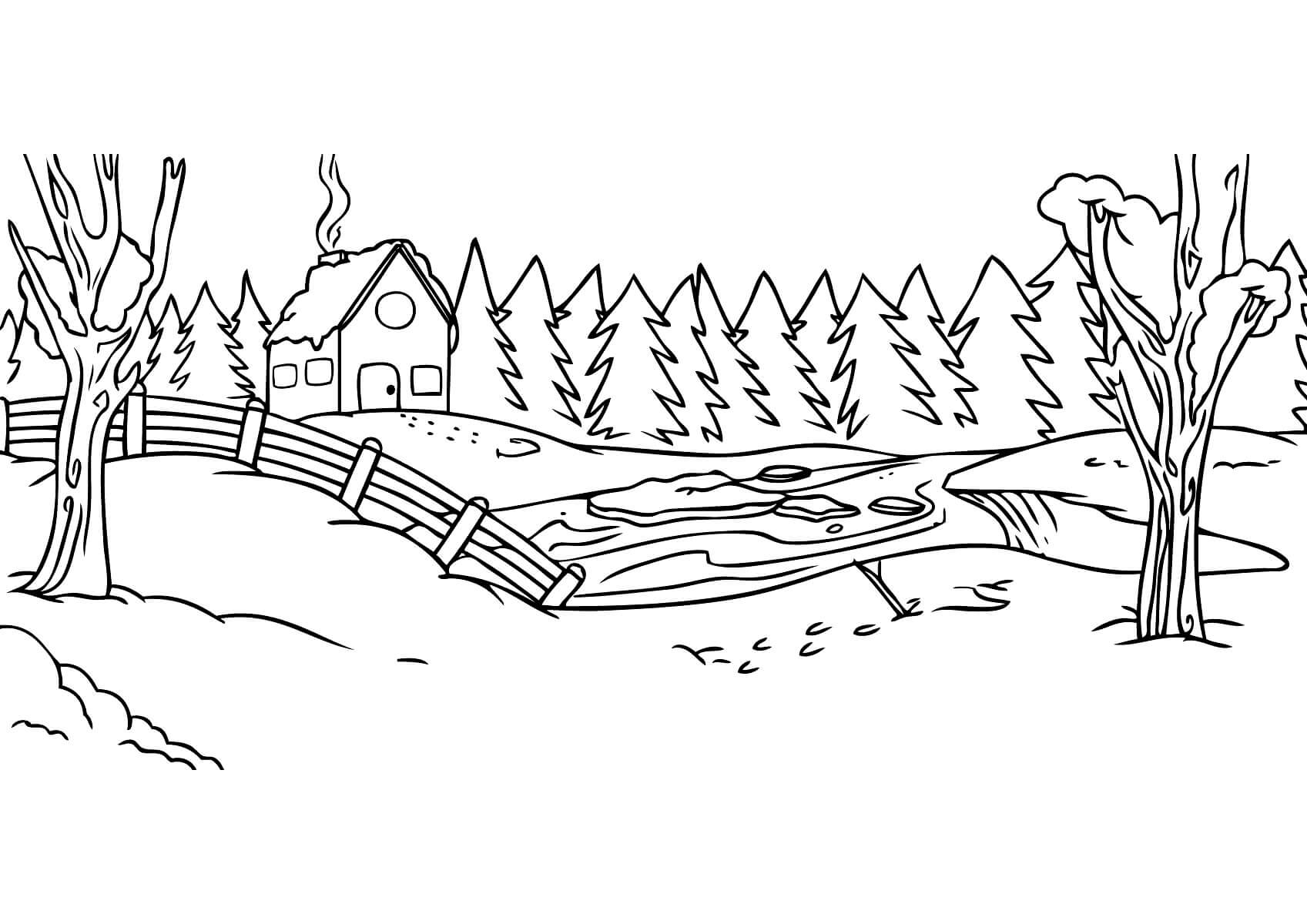 Раскраска Ледоход в лесу