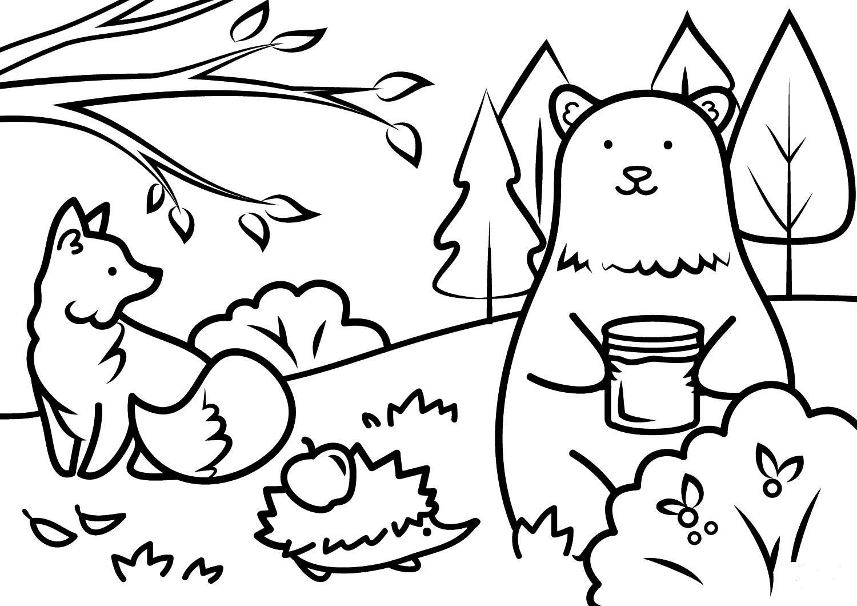 Раскраска Лесные жители