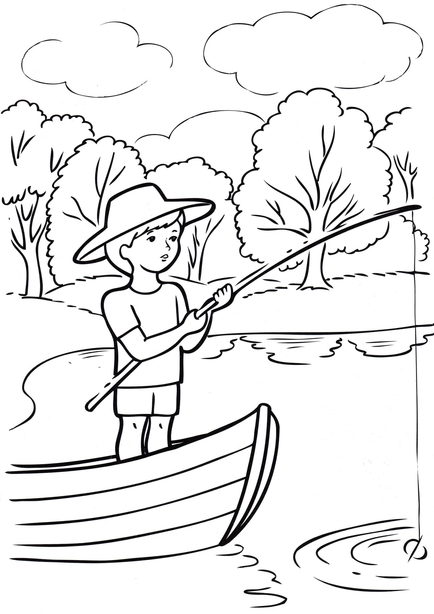 Раскраска Летняя рыбалка