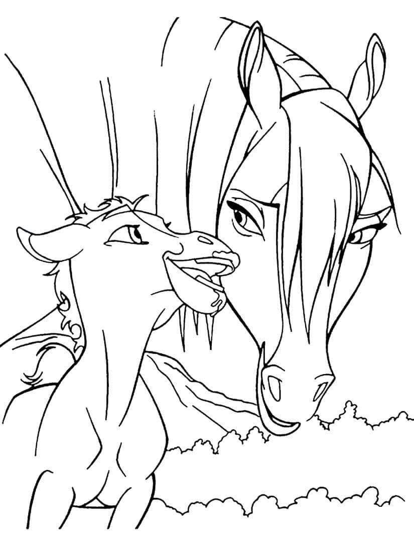 Раскраска Лошадь с жеребёнком