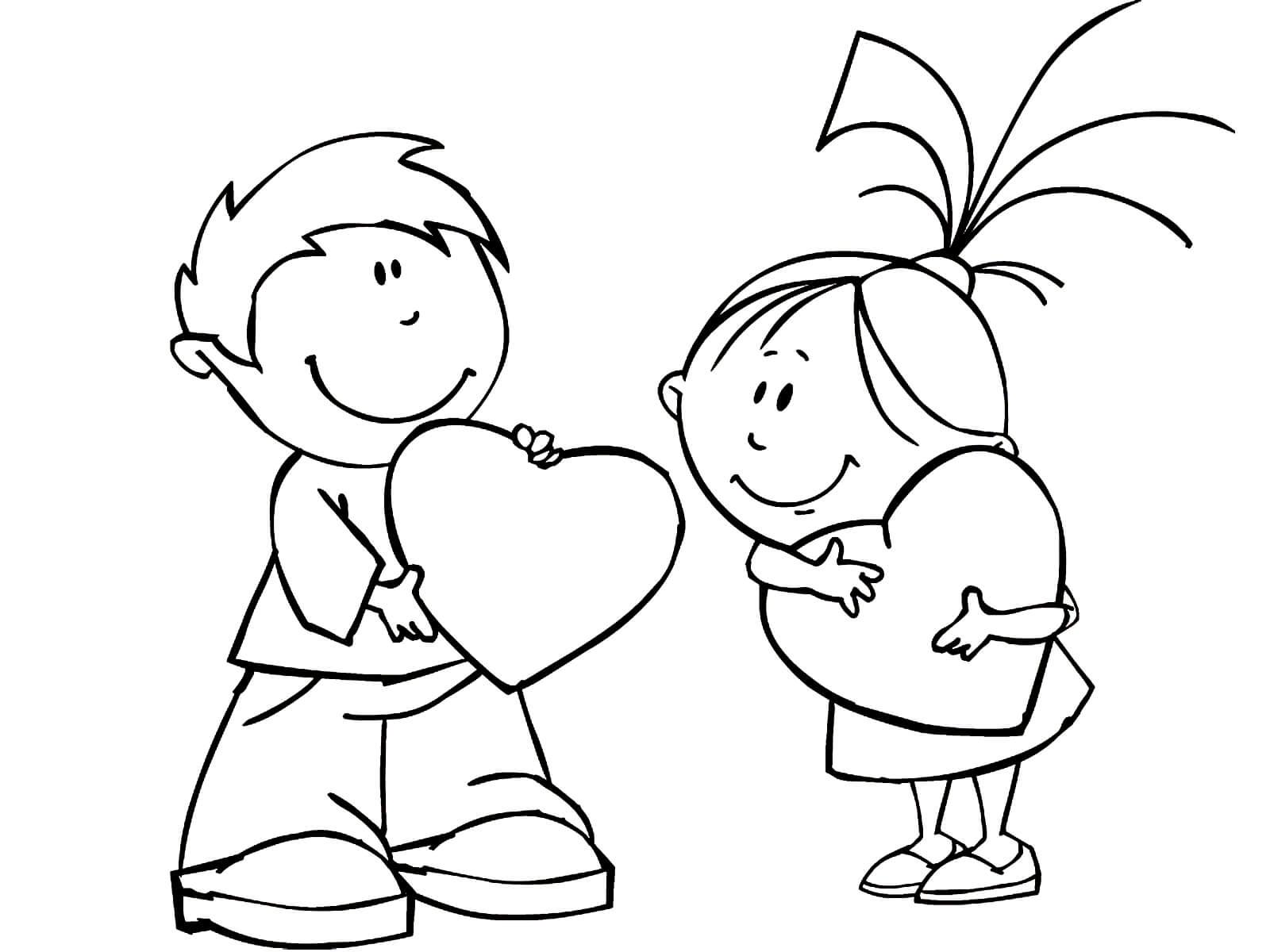 Раскраска Мальчик и девочка 14 февраля