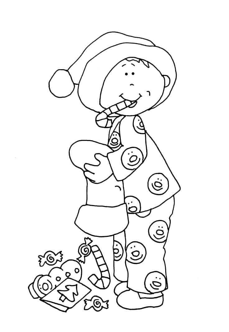 Раскраска Мальчик и сладости