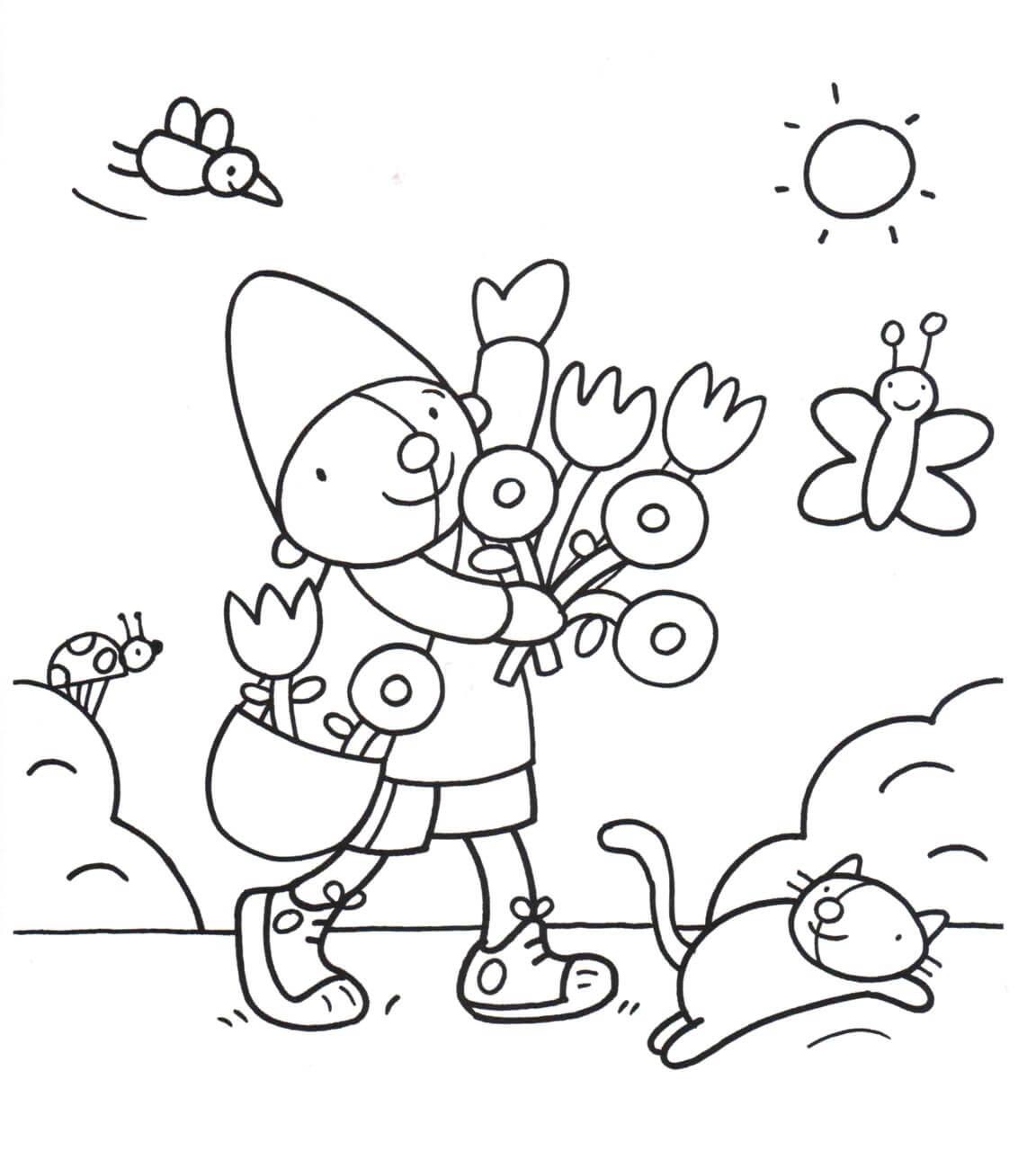 Раскраска Мальчик на прогулке