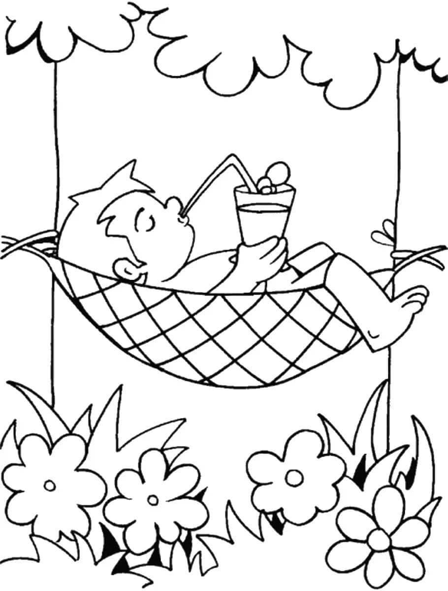 Раскраска Мальчик отдыхает в гамаке