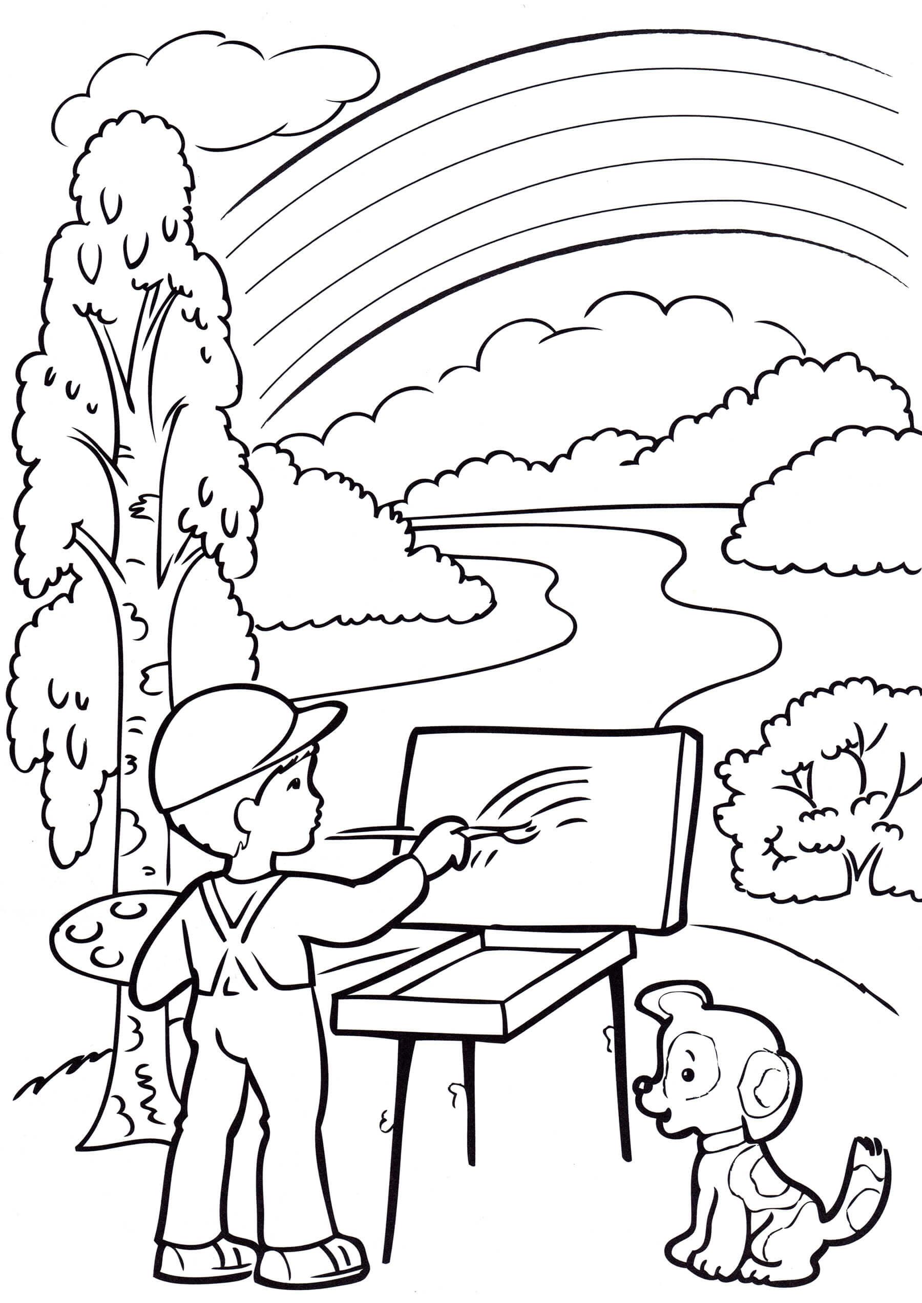 Раскраска Мальчик пишет картину