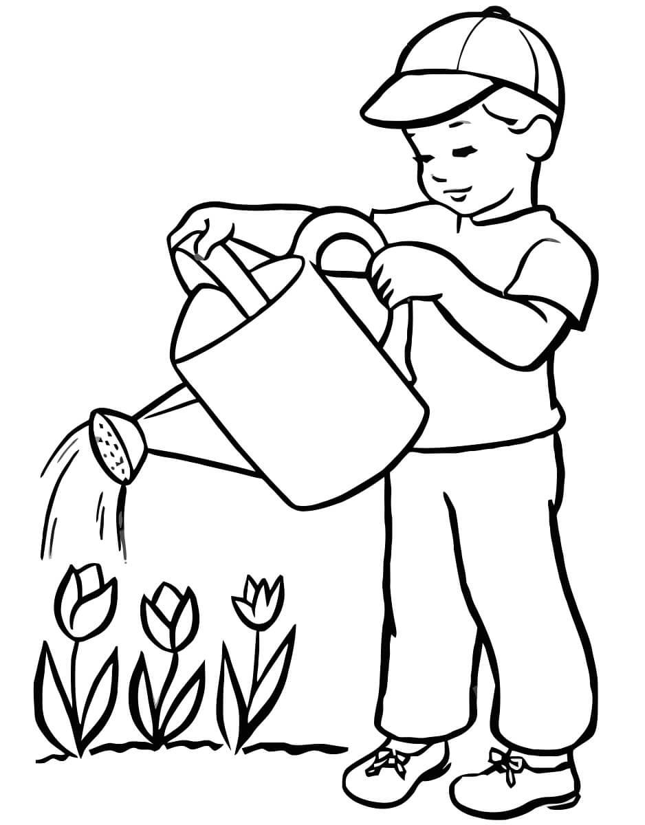 Раскраска Мальчик поливает цветочки