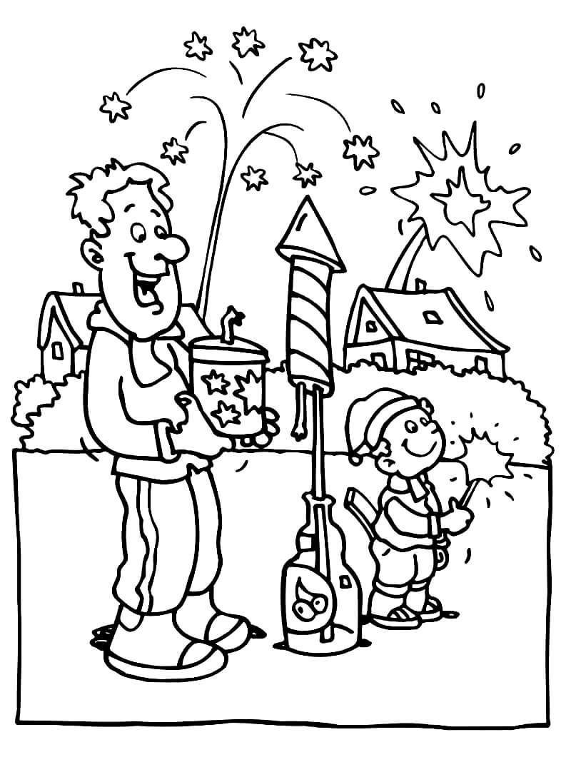Раскраска Мальчик с папой запускаю салюты Новый год