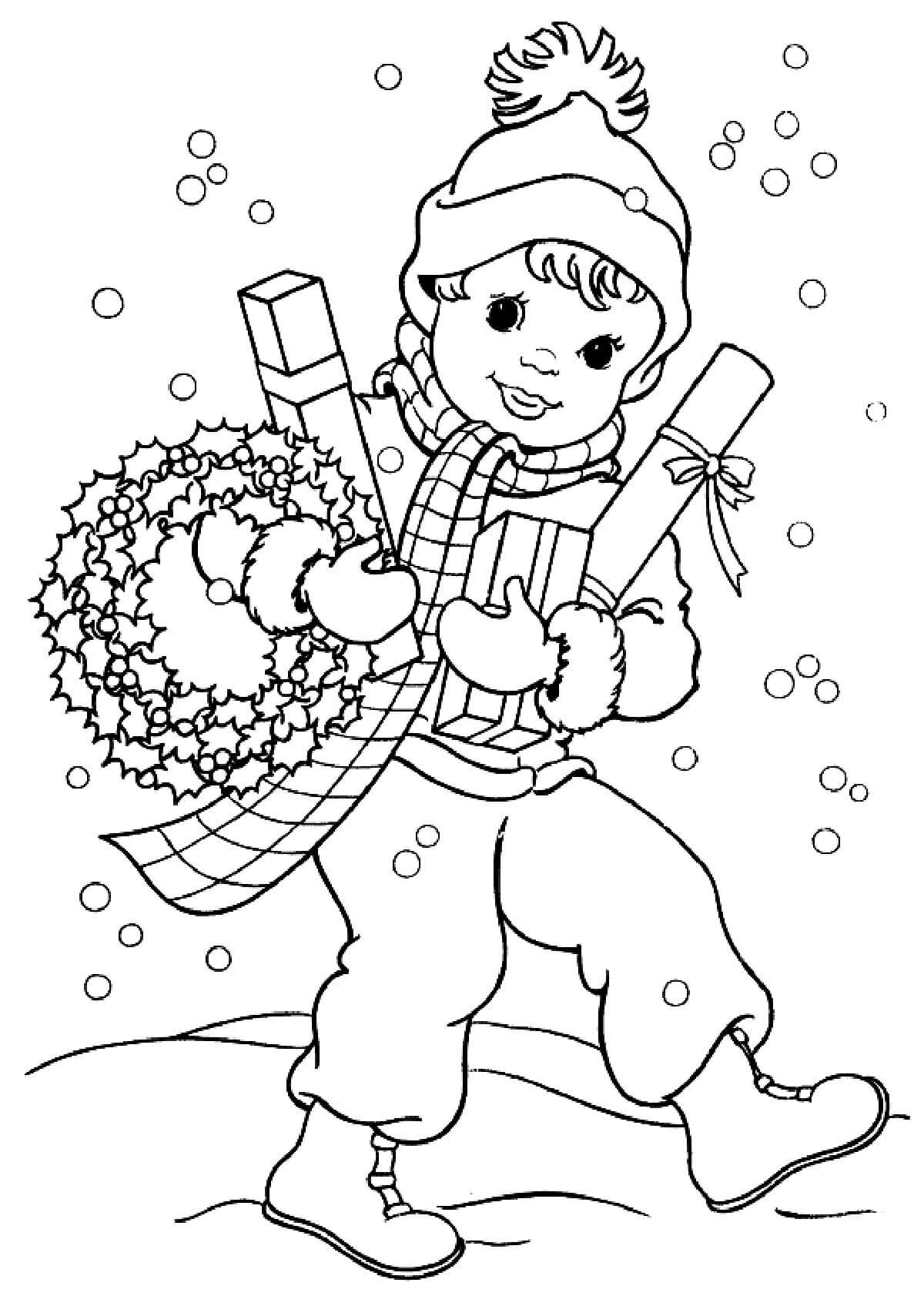Раскраска Мальчик с подарками
