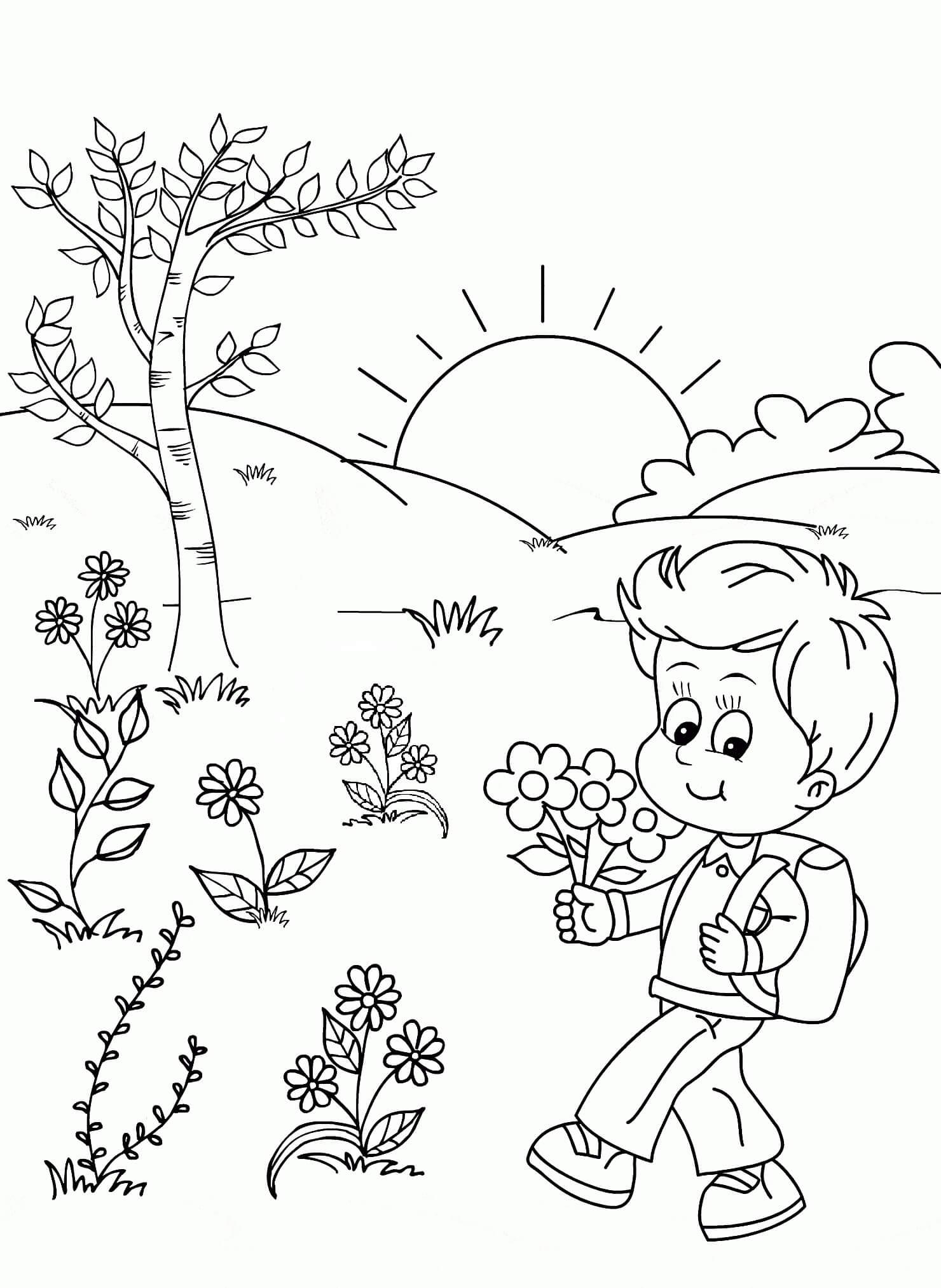 Раскраска Мальчик с цветочками
