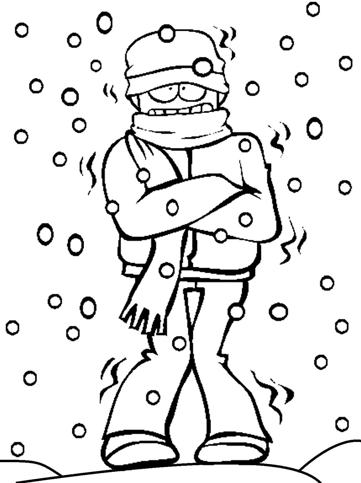 Раскраска Мальчик замёрз