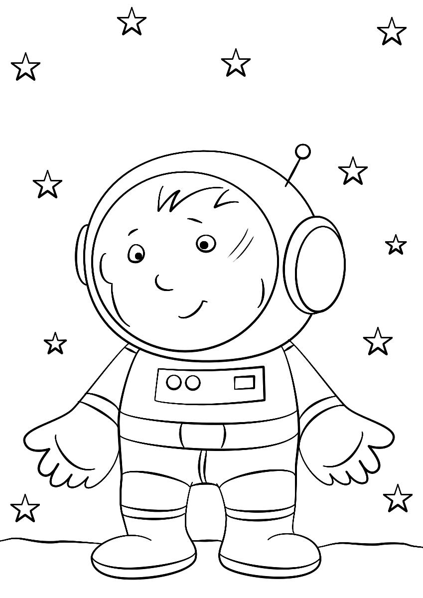 Раскраска Маленький космонавт