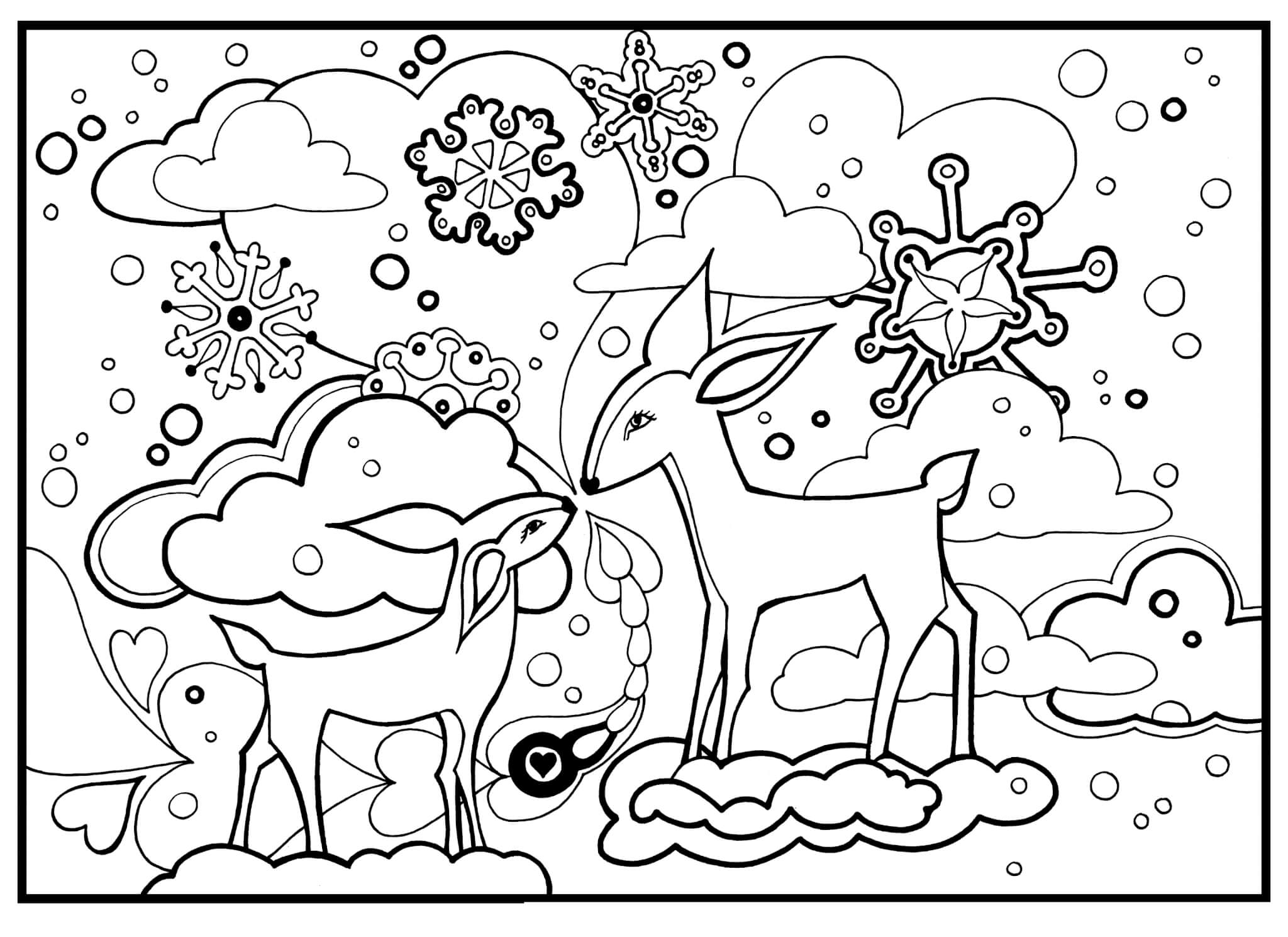 Раскраска Маленький оленёнок и его мама