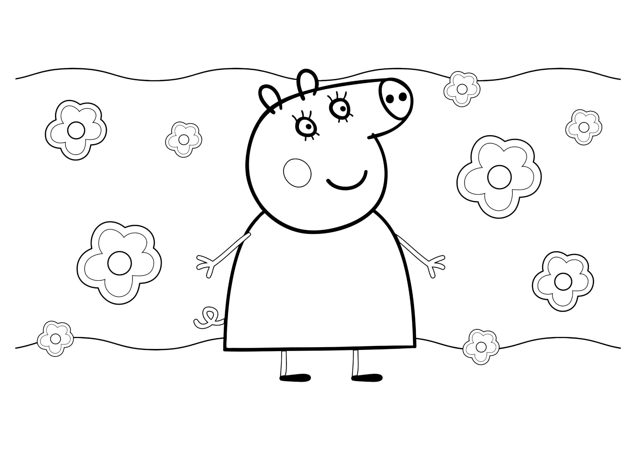 Раскраска Мама Свинка