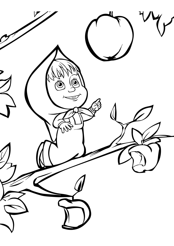 Раскраска Маша и яблоко