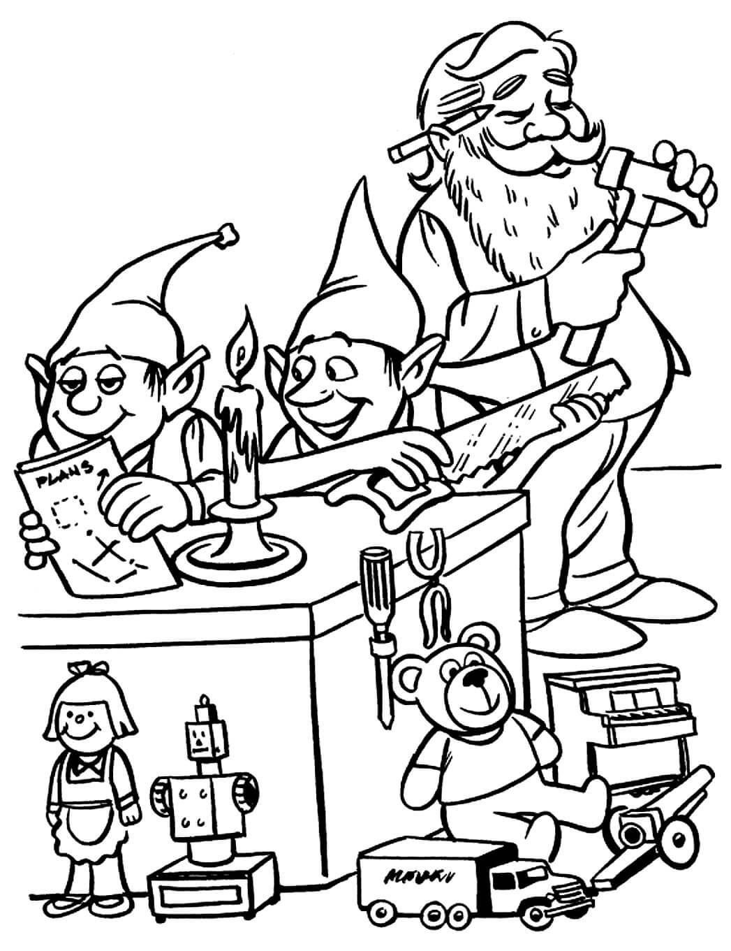 Раскраска Мастерская Санта Клауса