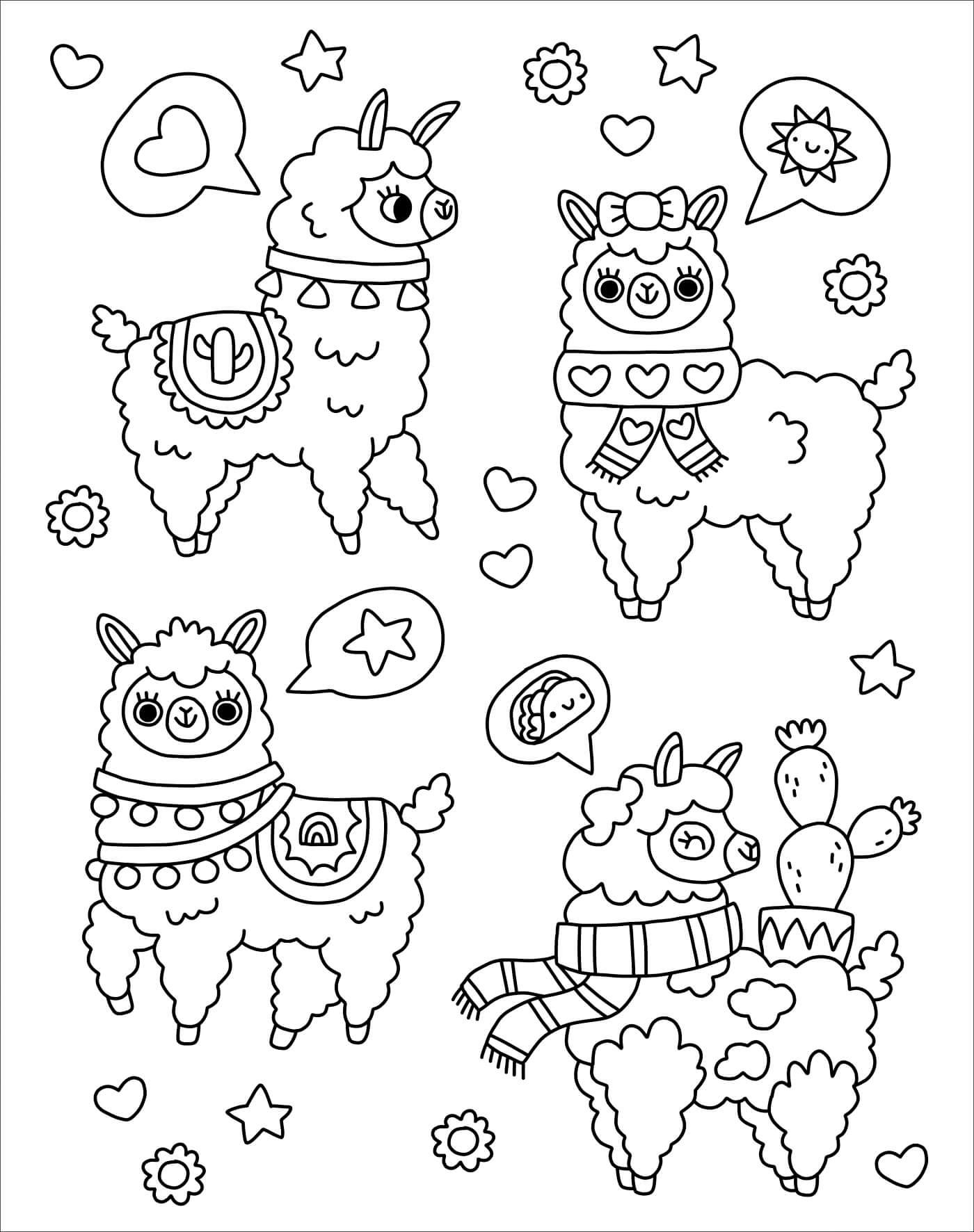 Раскраска Мечтающая лама
