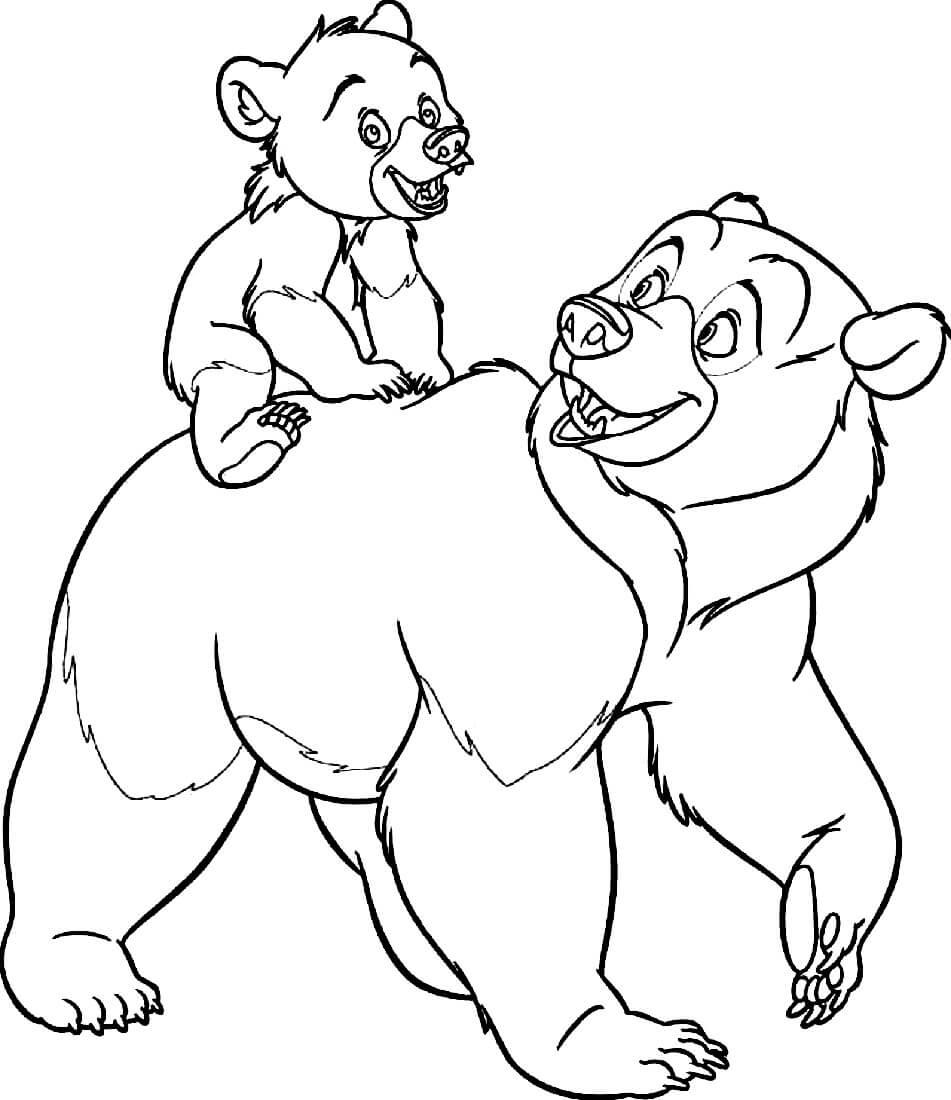 Раскраска Медведь с медвежонком
