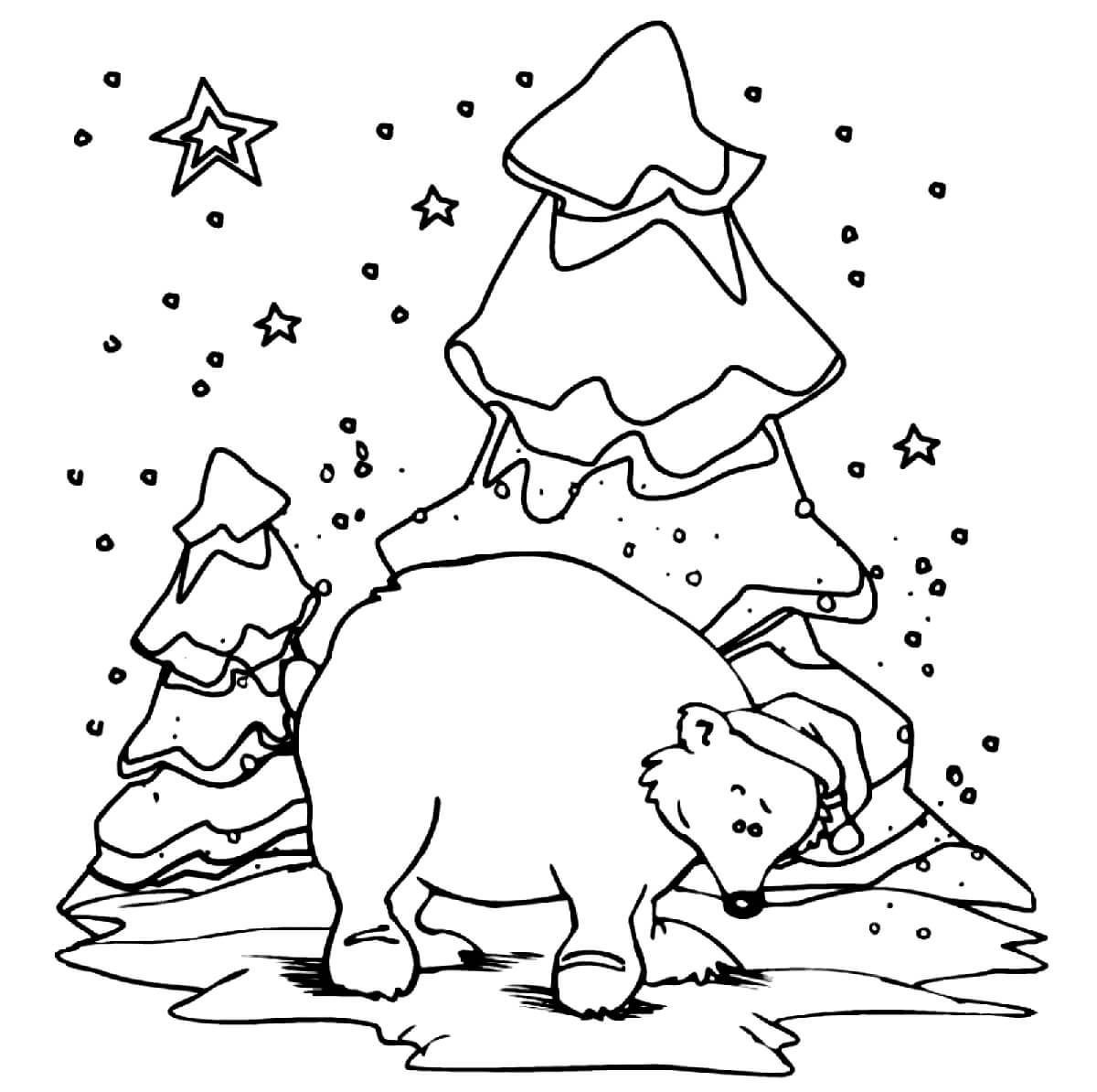 Раскраска Медведь в новогодней шапочке