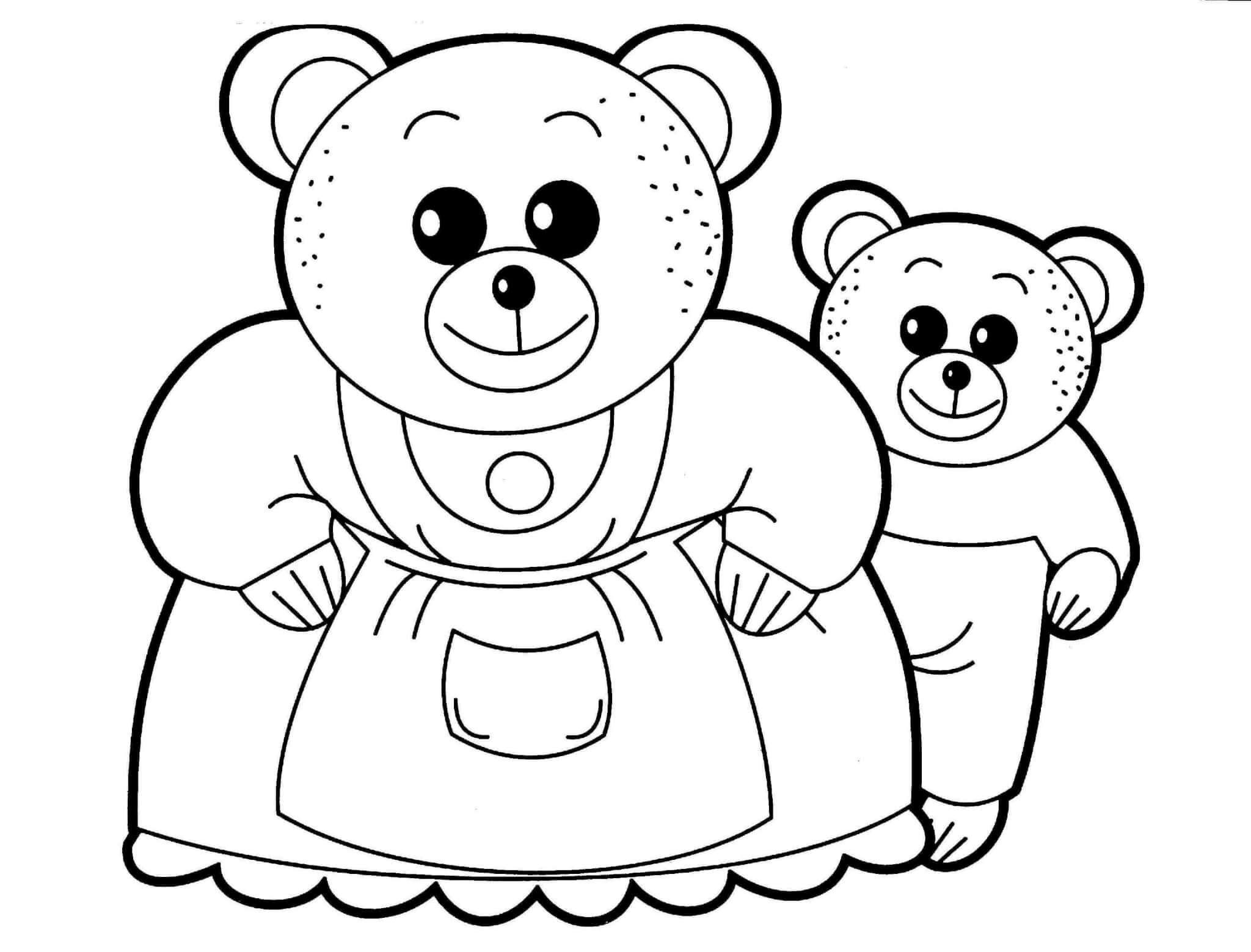 Раскраска Медведи