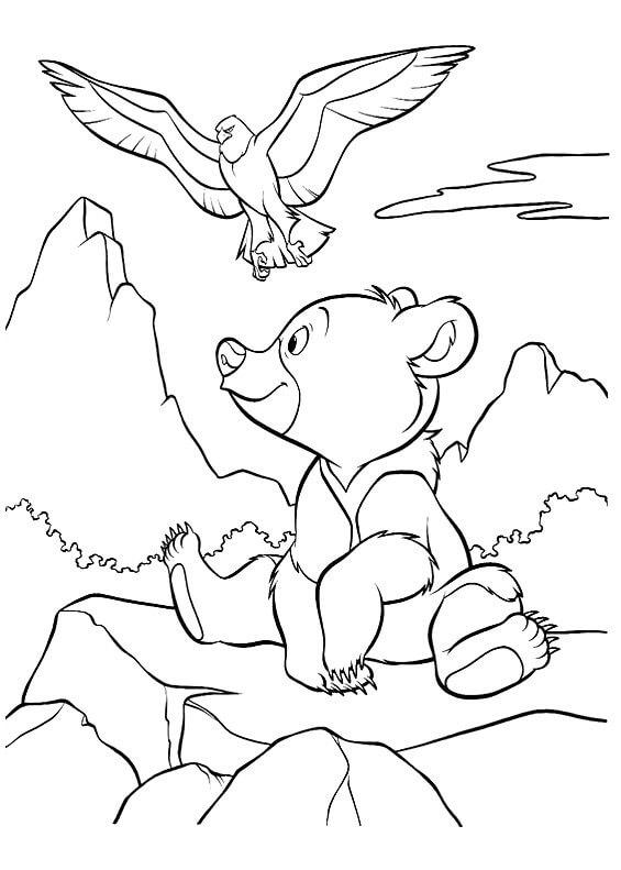 Раскраска Медвежонок на горе