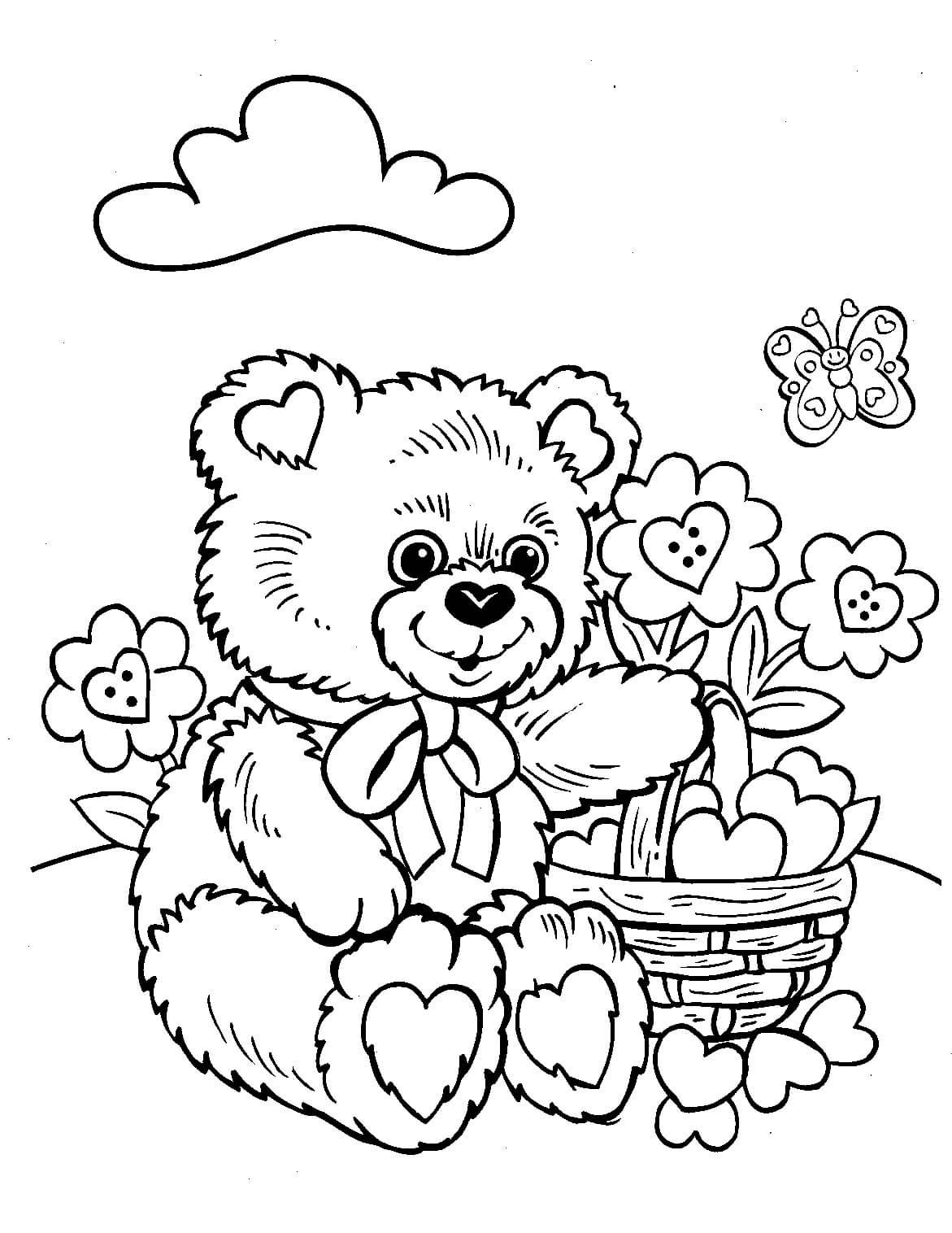 Раскраска Медвежонок на цветочной полянке