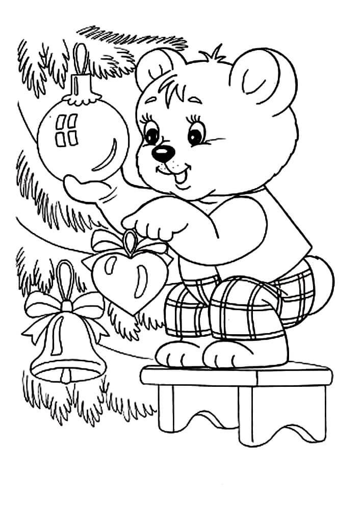 Раскраска Медвежонок наряжает ёлочку