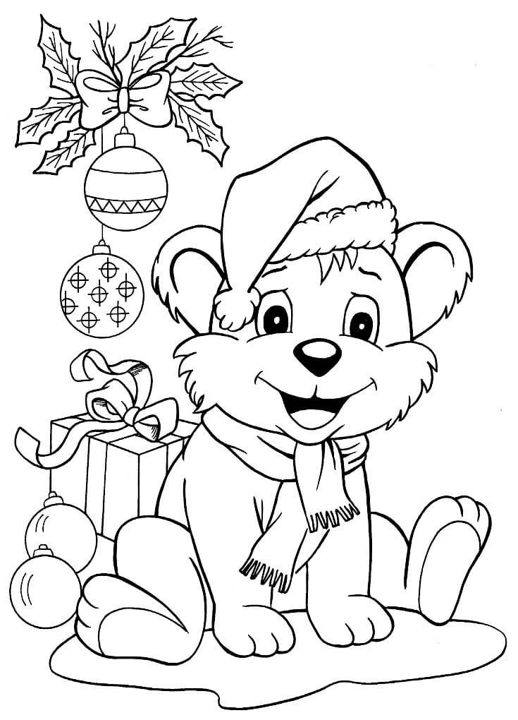Раскраска Медвежонок под ёлочкой