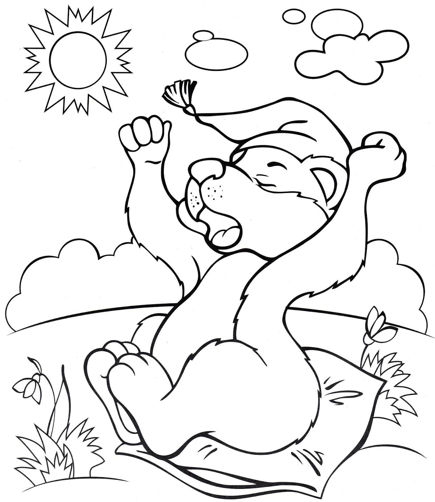 Раскраска Медвежонок проснулся
