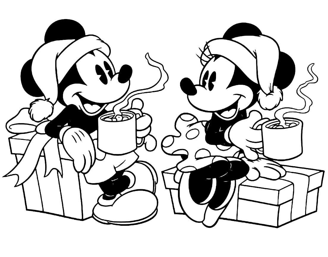 Раскраска Микки и Минни Маус пьют какао