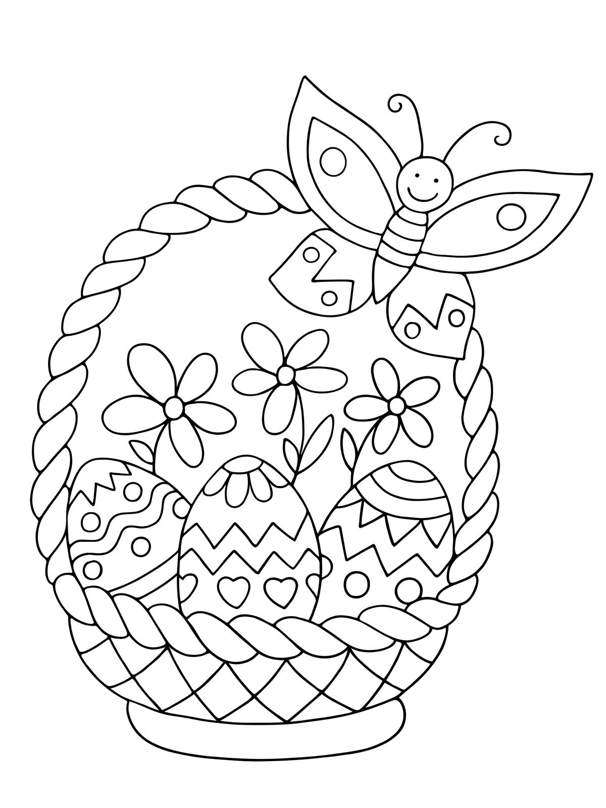 Раскраска Милая корзинка с крашенками