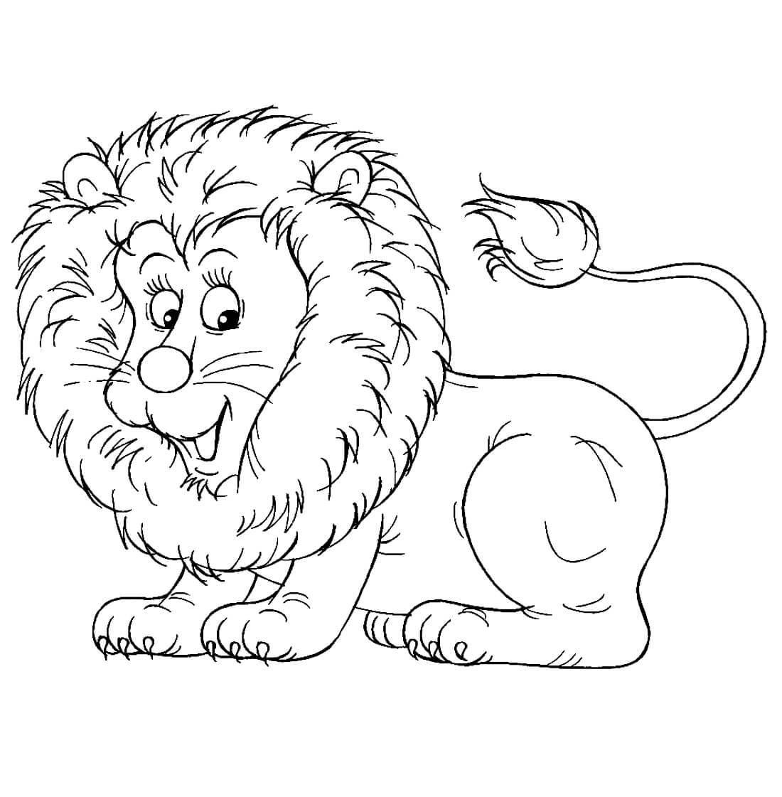 Раскраска Милый львёнок