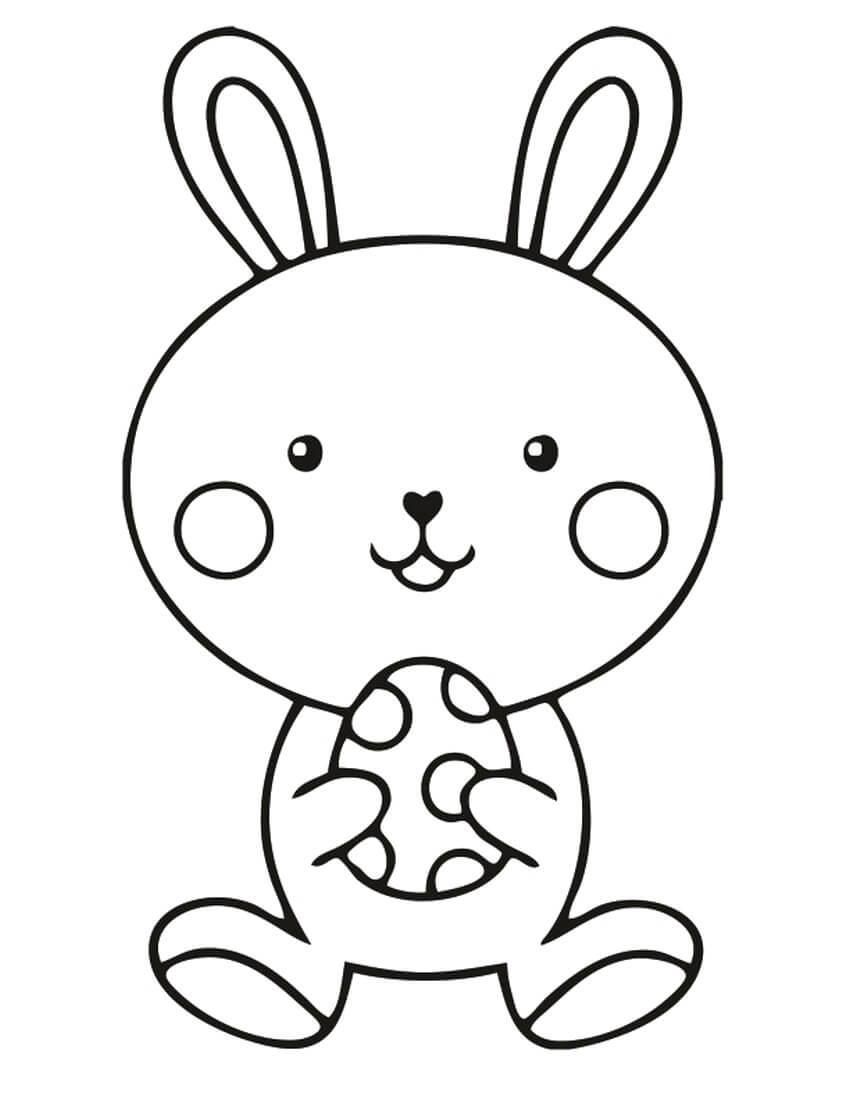 Раскраска Милый пасхальный кролик