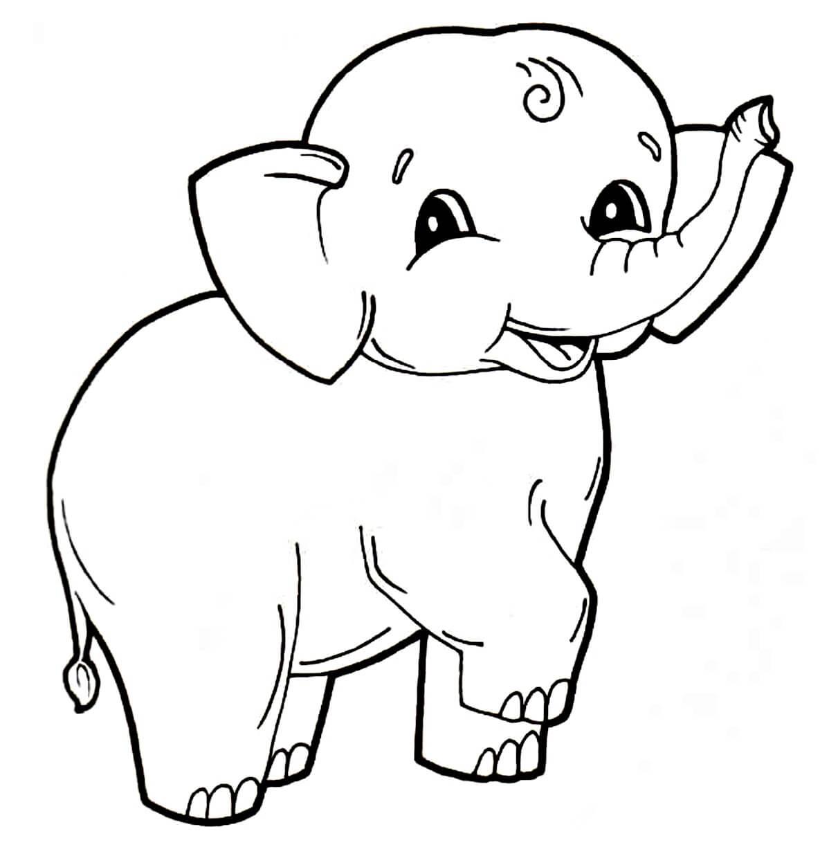 Раскраска Милый слонёнок